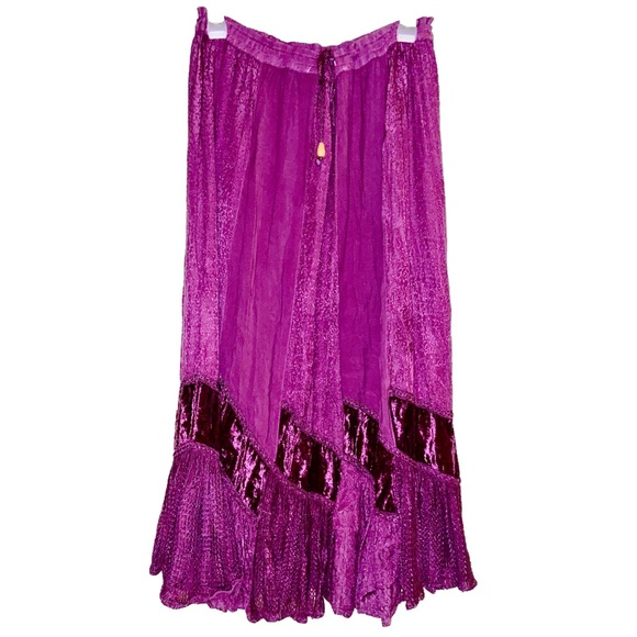 BHAG'S Dresses & Skirts - BHAGS Boho Purple Velvet & Stitched Maxi Skirt